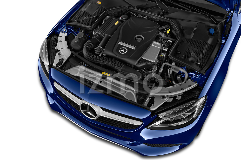 Car Stock 2018 Mercedes Benz C-Class C300 2 Door Coupe Engine  high angle detail view