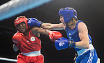 Wales Rosie Eccles takes on Aubiege Azangue of Cameroon in the Womans 69kg bout<br />