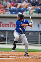 Biloxi Shuckers third baseman Taylor Green (5) at bat during the first game of a double header against the Pensacola Blue Wahoos on April 26, 2015 at Pensacola Bayfront Stadium in Pensacola, Florida.  Biloxi defeated Pensacola 2-1.  (Mike Janes/Four Seam Images)