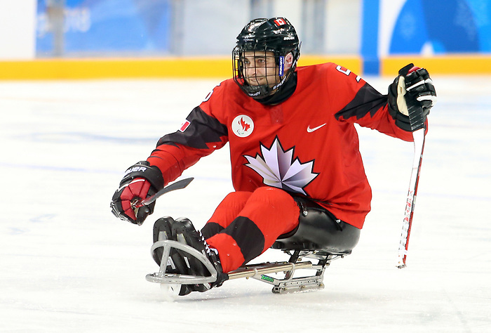 Pyeongchang, Korea, 10/3/2018- Corbyn Smith of Canada plays Sweden in hockey during the 2018 Paralympic Games in PyeongChang. Photo Scott Grant/Canadian Paralympic Committee.