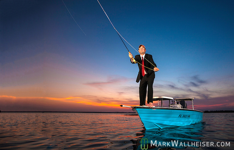 Bernie Gandy lll fishes before work in Oyster Bay in Wakulla Count, Florida .