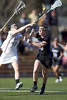 University at Albany attacker Jodi Battaglia (20) scoring effort. University at Albany defeated Boston College, 11-10, at Newton Campus Field, on March 30, 2011.