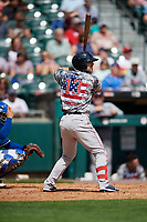 Pawtucket Red Sox Cole Sturgeon (13) bats during an International League game against the Buffalo Bisons on August 25, 2019 at Sahlen Field in Buffalo, New York.  Buffalo defeated Pawtucket 5-4 in 11 innings.  (Mike Janes/Four Seam Images)