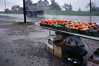 Robert Conway takes shelter under his produce at a roadside stand west of Scenery Hill, when a summer thunderstorm blows through the area. Farmers were early beneficiaries of the National Road as they found markets beyond nearby towns.<br /> Construction began in Cumberland, MD in 1811 on the National Road, America's first highway built with federal funds. Reaching Wheeling, West Virginia in 1818, it ended more than 600 miles west in Vandalia, Illinois in 1852.