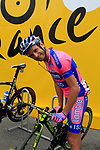 Michele Scarponi (ITA) Lampre-ISD at sign on before the start of Stage 2 of the 99th edition of the Tour de France 2012, running 207.5km from Vise to Tournai, Belgium. 2nd July 2012.<br /> (Photo by Eoin Clarke/NEWSFILE)