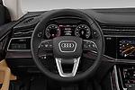 Steering wheel view of a 2019 Audi q8 Premium Plus 5 Door SUV