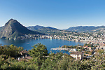 Switzerland, Ticino, Lago Lugano and Lugano city with Monte San Salvatore | Schweiz, Tessin, Lugano am Luganer See mit dem Hausberg Monte San Salvatore