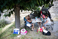 local ladies card club awaiting the riders<br /> <br /> Stage 5 from Gap to Privas (183km)<br /> <br /> 107th Tour de France 2020 (2.UWT)<br /> (the 'postponed edition' held in september)<br /> <br /> ©kramon