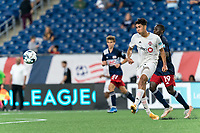 FOXBOROUGH, MA - JULY 9: Mehdi Essoussi #35 of Toronto FC II passes the ball during a game between Toronto FC II and New England Revolution II at Gillette Stadium on July 9, 2021 in Foxborough, Massachusetts.