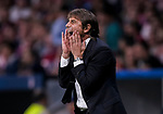 Coach Antonio Conte of Chelsea FC reacts during the UEFA Champions League 2017-18 match between Atletico de Madrid and Chelsea FC at the Wanda Metropolitano on 27 September 2017, in Madrid, Spain. Photo by Diego Gonzalez / Power Sport Images