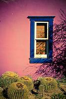 Purple Adobe with Blue Window and Barrel Cactus - Arizona