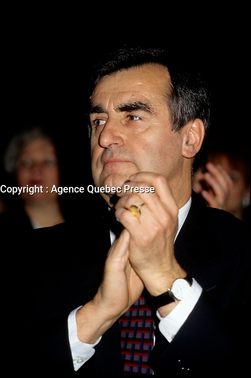 """Montreal (Qc) CANADA - File Photo - Jan 1996 -<br /> <br /> Lucien Bouchard,  Leader Parti Quebecois (from Jan 29, 1996 to March 2, 2001). seen in a file photo<br /> <br /> After the Yes side lost the 1995 referendum, Parizeau resigned as Quebec premier. Bouchard resigned his seat in Parliament in 1996, and became the leader of the Parti Qu»b»cois and premier of Quebec.<br /> <br /> On the matter of sovereignty, while in office, he stated that no new referendum would be held, at least for the time being. A main concern of the Bouchard government, considered part of the necessary conditions gagnantes (""""winning conditions"""" for the feasibility of a new referendum on sovereignty), was economic recovery through the achievement of """"zero deficit"""". Long-term Keynesian policies resulting from the """"Quebec model"""", developed by both PQ governments in the past and the previous Liberal government had left a substantial deficit in the provincial budget.<br /> <br /> Bouchard retired from politics in 2001, and was replaced as Quebec premier by Bernard Landry."""