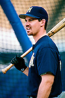 Mark Loretta of the Milwaukee Brewers participates in a Major League Baseball game at Dodger Stadium during the 1998 season in Los Angeles, California. (Larry Goren/Four Seam Images)