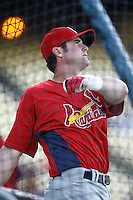Adam Kennedy of the St. Louis Cardinals during batting practice before a game from the 2007 season at Dodger Stadium in Los Angeles, California. (Larry Goren/Four Seam Images)