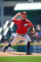 Columbus Clippers pitcher Will Roberts (48) delivers a pitch during a game against the Buffalo Bisons on July 19, 2015 at Coca-Cola Field in Buffalo, New York. Buffalo defeated Columbus 4-3 in twelve innings. (Mike Janes/Four Seam Images)
