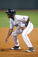 Tim Anderson (7) of the Winston-Salem Dash takes his lead off of first base against the Wilmington Blue Rocks at BB&T Ballpark on April 3, 2014 in Winston-Salem, North Carolina.  The Blue Rocks defeated the Dash 3-1.  (Brian Westerholt/Four Seam Images)