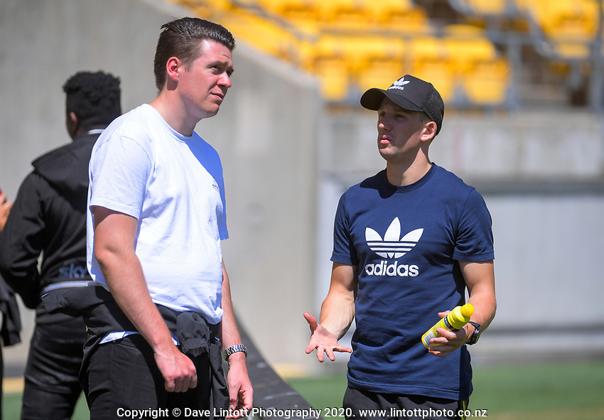 Media manager Sam Farrell and operations manager Johnny Schmitt.  Hurricanes captain's run at Sky Stadium in Wellington, New Zealand on Friday, 14 February 2020. Photo: Dave Lintott / lintottphoto.co.nz
