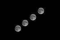 The October 2017 Full Harvest Moon in a series of four images taken as the moon traveled higher into the sky.