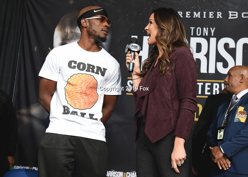 """ONTARIO - DECEMBER 20:  Tony Harrison and Heidi Androl at  the weigh in for the December 21 fight on the Fox Sports PBC """"Harrison v Charlo"""" on December 20, 2019 in Ontario, California. (Photo by Frank Micelotta/Fox Sports/PictureGroup)"""
