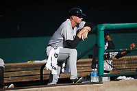Augusta GreenJackets manager Michael Saunders (38) watches from the top step of the dugout during the game against the Charleston Boiled Peanuts at Joseph P. Riley, Jr. Park on June 26, 2021 in Charleston, South Carolina. (Brian Westerholt/Four Seam Images)
