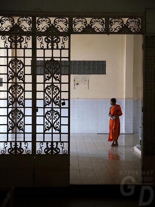 Buddhist Monks at a Monastery outside Phnom Penh, Cambodia. Chin Puskak, Temple,