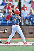 Johnson City Cardinals third baseman Nolan Gorman (4) awaits a pitch during a game against the Pulaski Yankees at TVA Credit Union Ballpark on July 7, 2018 in Johnson City, Tennessee. The Cardinals defeated the Yankees 7-3. (Tony Farlow/Four Seam Images)