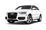 Stock pictures of low aggressive front three quarter view of 2015 Audi Q3 Premium Plus 5 Door SUV