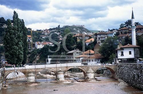 Sarajevo, Bosnia and Herzegovina. Bridge under reconstruction; view of the town.