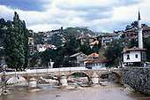 Sarajevo, Bosnia and Herzegovina. Bridge under reconstruction; view of the town.