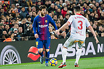 Lionel Andres Messi (L) of FC Barcelona fights for the ball with Ruben Duarte of Deportivo Alaves during the La Liga 2017-18 match between FC Barcelona and Deportivo Alaves at Camp Nou on 28 January 2018 in Barcelona, Spain. Photo by Vicens Gimenez / Power Sport Images