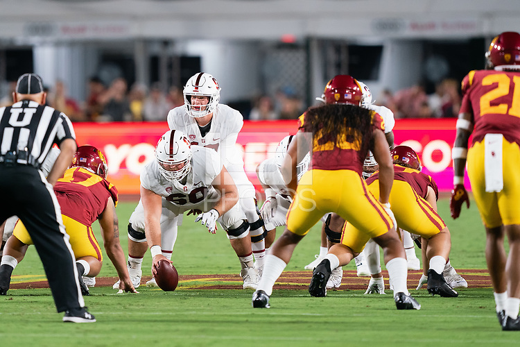 LOS ANGELES, CA - SEPTEMBER 11: Drake Nugent, Tanner McKee during a game between University of Southern California and Stanford Football at Los Angeles Memorial Coliseum on September 11, 2021 in Los Angeles, California.