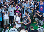Fong Shing Yee, winner of the 2012 Red Bull King of the Rock Hong Kong Qualifier, accepts his trophy from Red Bull athlete Rajon Rondo. Photo © Raf Sanchez / The Power of Sport Images