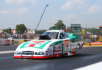 Aug 19, 2017; Brainerd, MN, USA; NHRA funny car driver Jim Campbell during qualifying for the Lucas Oil Nationals at Brainerd International Raceway. Mandatory Credit: Mark J. Rebilas-USA TODAY Sports