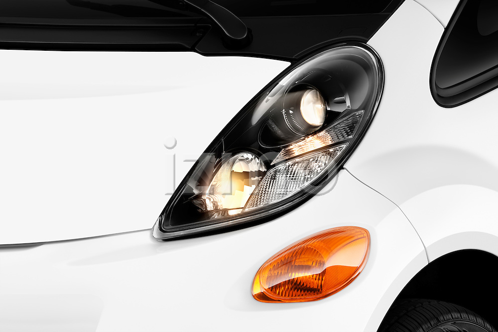 Front headlight detail of a 2012 Mitsubishi MiEV SE