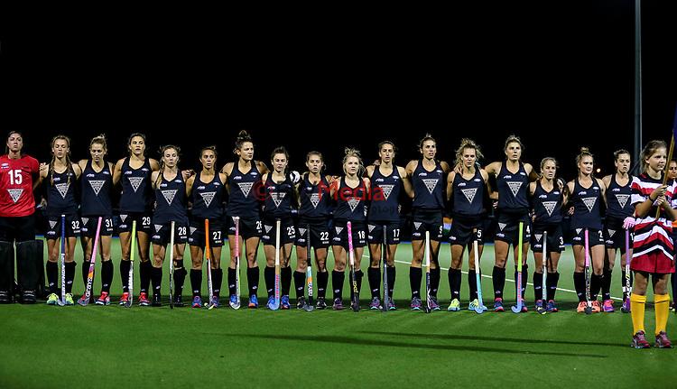 National Anthem  during the international hockey match between the Blacksticks Women and India, Rosa Birch Park, Pukekohe, New Zealand. Tuesday 16  May 2017. Photo:Simon Watts / www.bwmedia.co.nz
