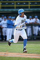 Chase Stumpf (33) of the of UCLA Bruins runs to first base during a game against the University of San Diego Toreros at Jackie Robinson Stadium on March 4, 2017 in Los Angeles, California.  USD defeated UCLA, 3-1. (Larry Goren/Four Seam Images)