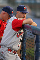 June 27th 2008:  Manager Dusty Wathan of the Williamsport Crosscutters, Class-A affiliate of the Pittsburgh Pirates, during a game at Russell Diethrick Park in Jamestown, NY.  Photo by:  Mike Janes/Four Seam Images