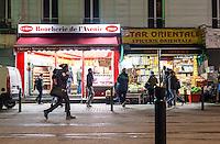 """FRANKREICH, 26.11.2015, Paris.  Der Vorort-Bezirk Saint-Denis ist gepraegt durch seine vielen muslimischen Zuwanderer. Hier liegt das """"Stade de France"""", einer der Orte der Terroranschlaege vom 13.11 und hier lieferte sich die Polizei die schwere Schiesserei mit einigen der beteiligten Islamisten am 18.11.   The suburban district of Saint-Denis is characterized by its dense muslim immigrant population. Here """"Stade de France"""" is located, one of the places of the Paris terrorist attacks on Nov. 13 and here the police had a heavy shootout with some of the islamists involved on Nov. 18.<br /> � Arturas Morozovas/EST&OST"""