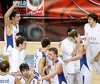 Serbia players celebrates victory during the quarter final World championship basketball match against Spain in Istanbul, Serbia-Spain, Turkey on Wednesday, Sep. 08, 2010.(Novak Djurovic/Starsportphoto.com).