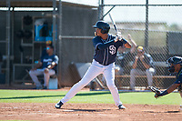 San Diego Padres right fielder Tre Carter (63) at bat during an Instructional League game against the Milwaukee Brewers at Peoria Sports Complex on September 21, 2018 in Peoria, Arizona. (Zachary Lucy/Four Seam Images)