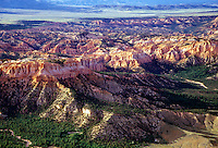 An aerial overview of Bryce Canyon National Park, Utah, US