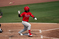 Philadelphia Phillies Odubel Herrera (37) bats during a Major League Spring Training game against the Baltimore Orioles on March 12, 2021 at the Ed Smith Stadium in Sarasota, Florida.  (Mike Janes/Four Seam Images)