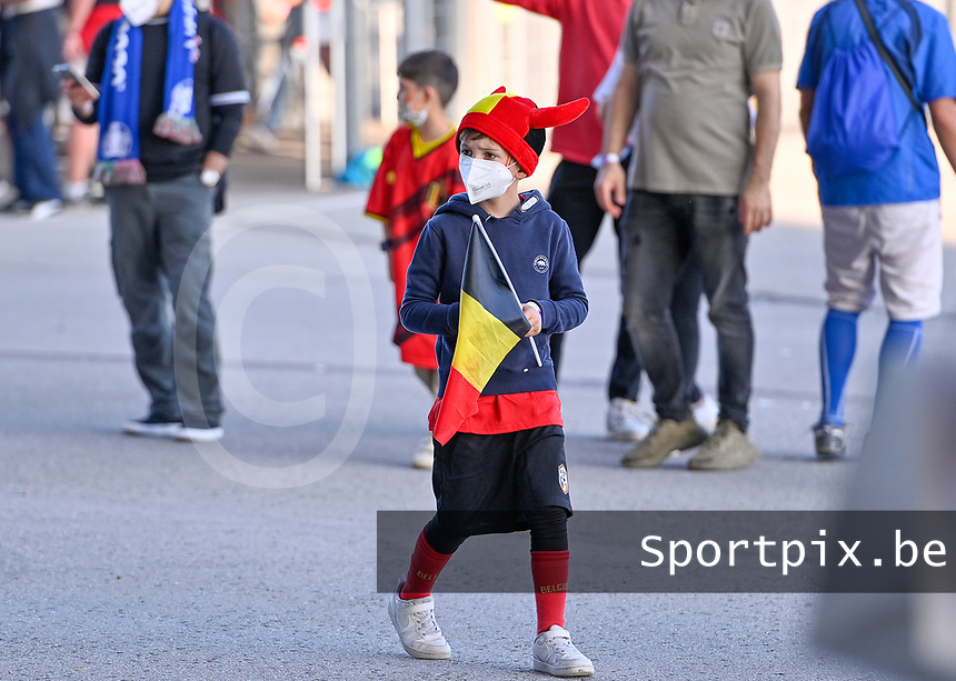 Belgian young supporter pictured ahead of a soccer game during the quarter final Euro 2020 European Championship between the Belgian national soccer team Red Devils and Italy , called the Azzurri , on friday 2 nd of July 2021  in the Allianz Arena in Munchen , Germany . PHOTO SPORTPIX | SPP | DAVID CATRY
