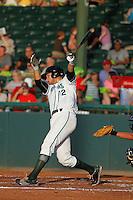 Daytona Tortugas infielder Taylor Sparks (12) at bat during a game against the Tampa Yankees at Radiology Associates Field at Jackie Robinson Ballpark on June 13, 2015 in Daytona, Florida. Tampa defeated Daytona 8-6. (Robert Gurganus/Four Seam Images)