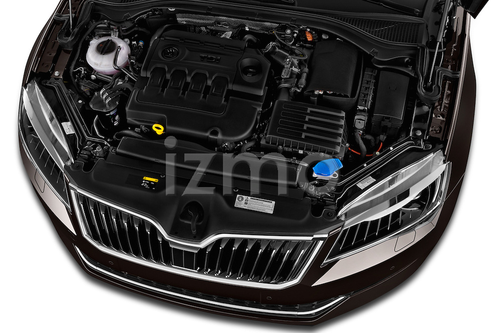 Car Stock 2016 Skoda Superb Combi Laurin & Klement 5 Door Wagon Engine  high angle detail view