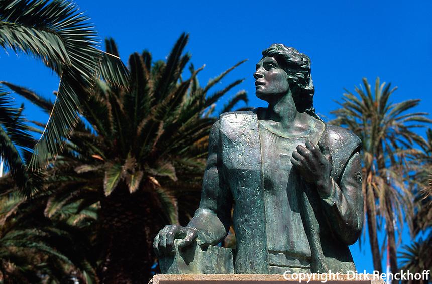 Kolumbus-Denkmal im Stadtpark in Vila Baleira, Porto Santo, Portugal