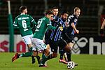 13.01.2021, xtgx, Fussball 3. Liga, VfB Luebeck - SV Waldhof Mannheim emspor, v.l. Soufian Benyamina (Luebeck, 33), Mohamed Gouaida (Mannheim, 18) Zweikampf, Duell, Kampf, tackle <br /> <br /> (DFL/DFB REGULATIONS PROHIBIT ANY USE OF PHOTOGRAPHS as IMAGE SEQUENCES and/or QUASI-VIDEO)<br /> <br /> Foto © PIX-Sportfotos *** Foto ist honorarpflichtig! *** Auf Anfrage in hoeherer Qualitaet/Aufloesung. Belegexemplar erbeten. Veroeffentlichung ausschliesslich fuer journalistisch-publizistische Zwecke. For editorial use only.