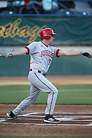 Scott Donley #3 of the Indiana Hoosiers bats against the Long Beach State Dirtbags at Blair Field on March 14, 2014 in Long Beach, California. Long Beach State defeated Indiana 4-3. (Larry Goren/Four Seam Images)