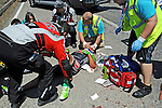 Serhiy Grechyn (UKR) Torku Sekerspor suffers a bad crash during Stage 7 of the 2015 Presidential Tour of Turkey running 166km from Selcuk to Izmir. 2nd May 2015.<br /> Photo: Tour of Turkey/Mario Stiehl/www.newsfile.ie