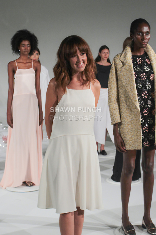 """Fashion designer Alejandra Alonso Rojas poses with models at her A Moi Spring Summer 2016 """"Retrograde"""" collection  during New York Fashion Week Spring 2016."""